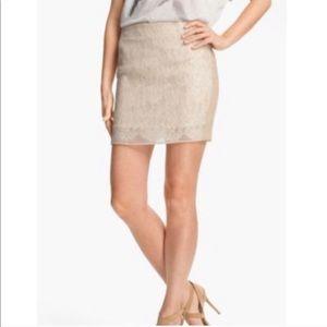 HAUTE HIPPIE • buff silk lake swan mini skirt